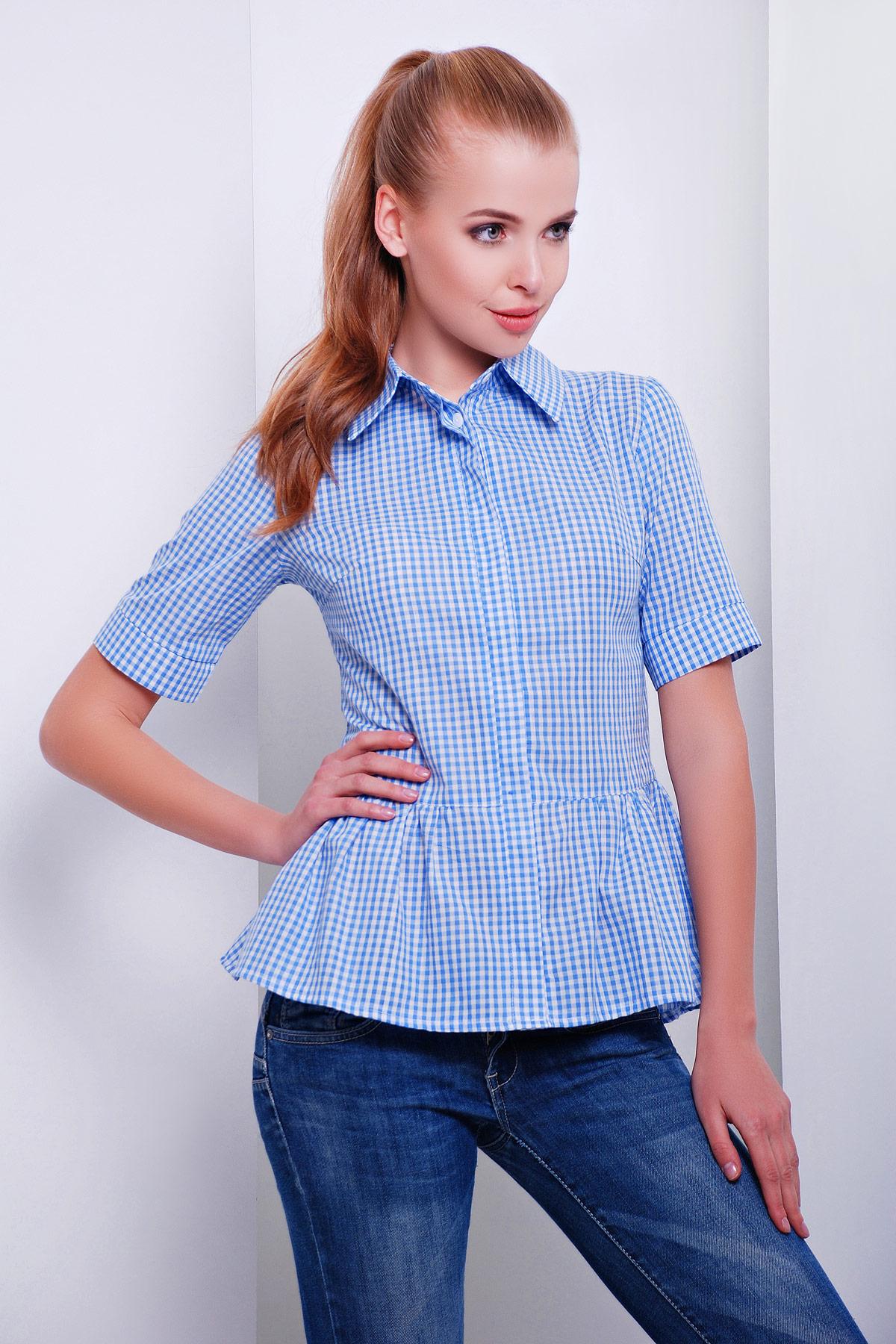 блуза Доминика к/р. Цвет: голубой-м.клетка