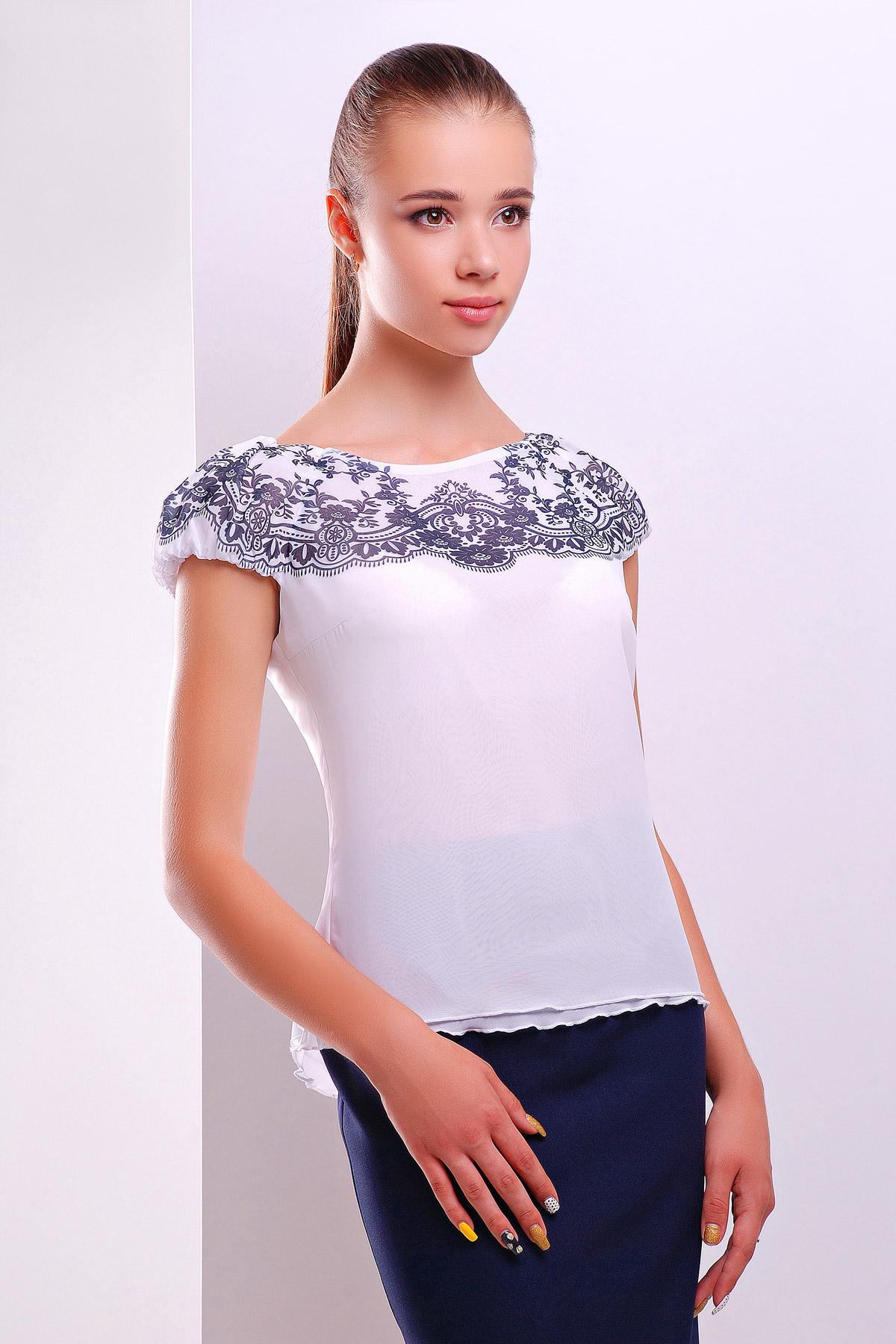 0d37c9806a5 белая блузка из шифона с коротким рукавом. Узор темно синий блуза Жулли2 б р
