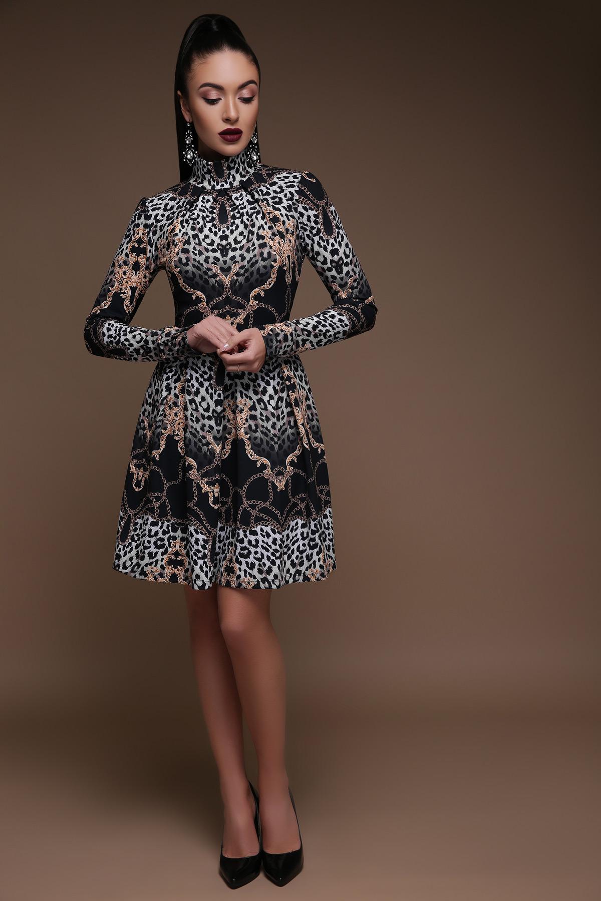 9bc4f41d5a3 Цвет  леопардовое платье со складками. Леопард-цепи платье Эльнара д р.