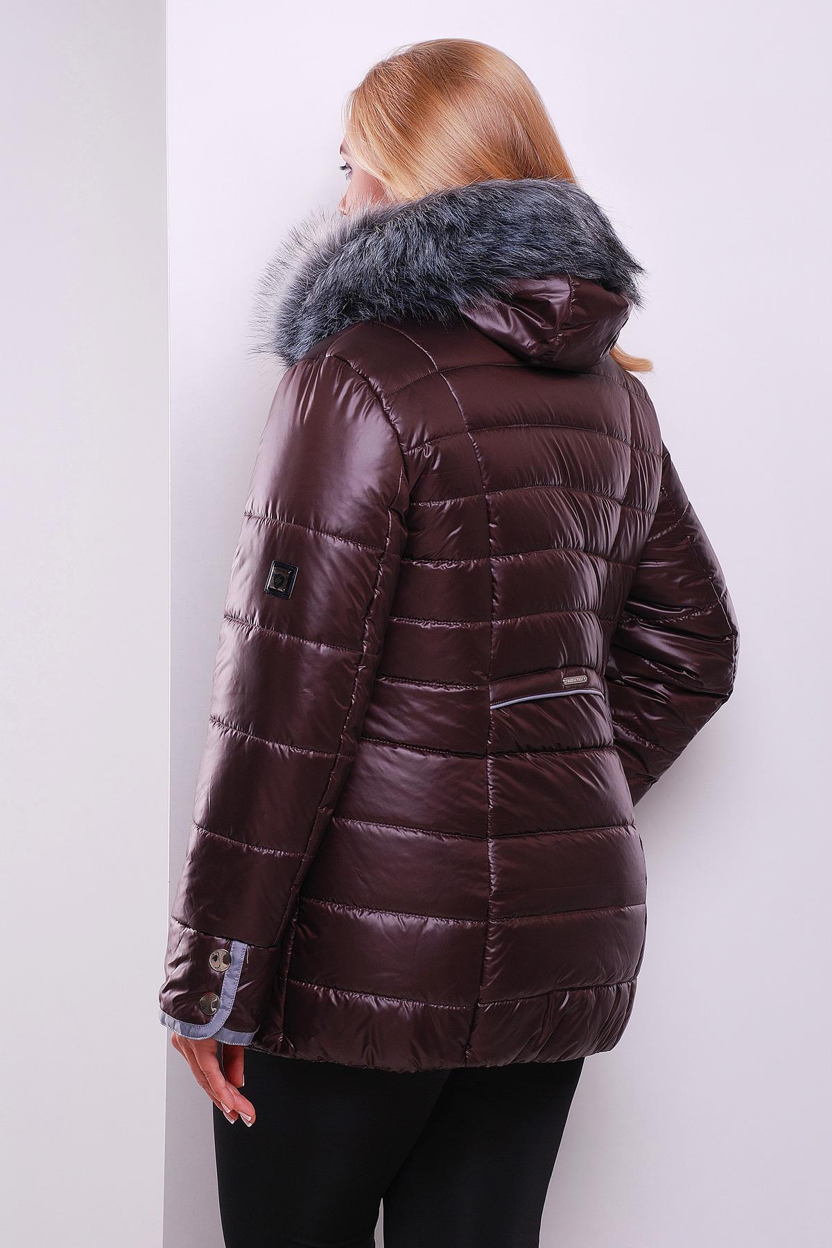9a96718273d Красная женская куртка с меховым воротником. куртка Glem-1. Цвет   коричневый купить