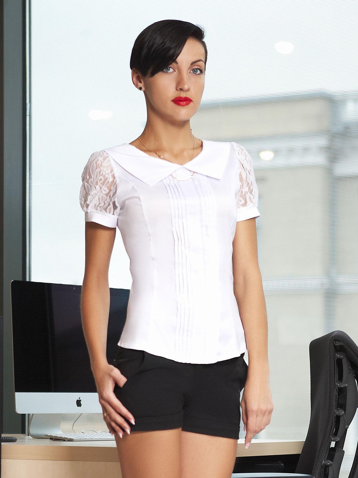 8e7147215e0 белая блузка для офиса с коротким рукавом. блуза Грейс к р. Цвет