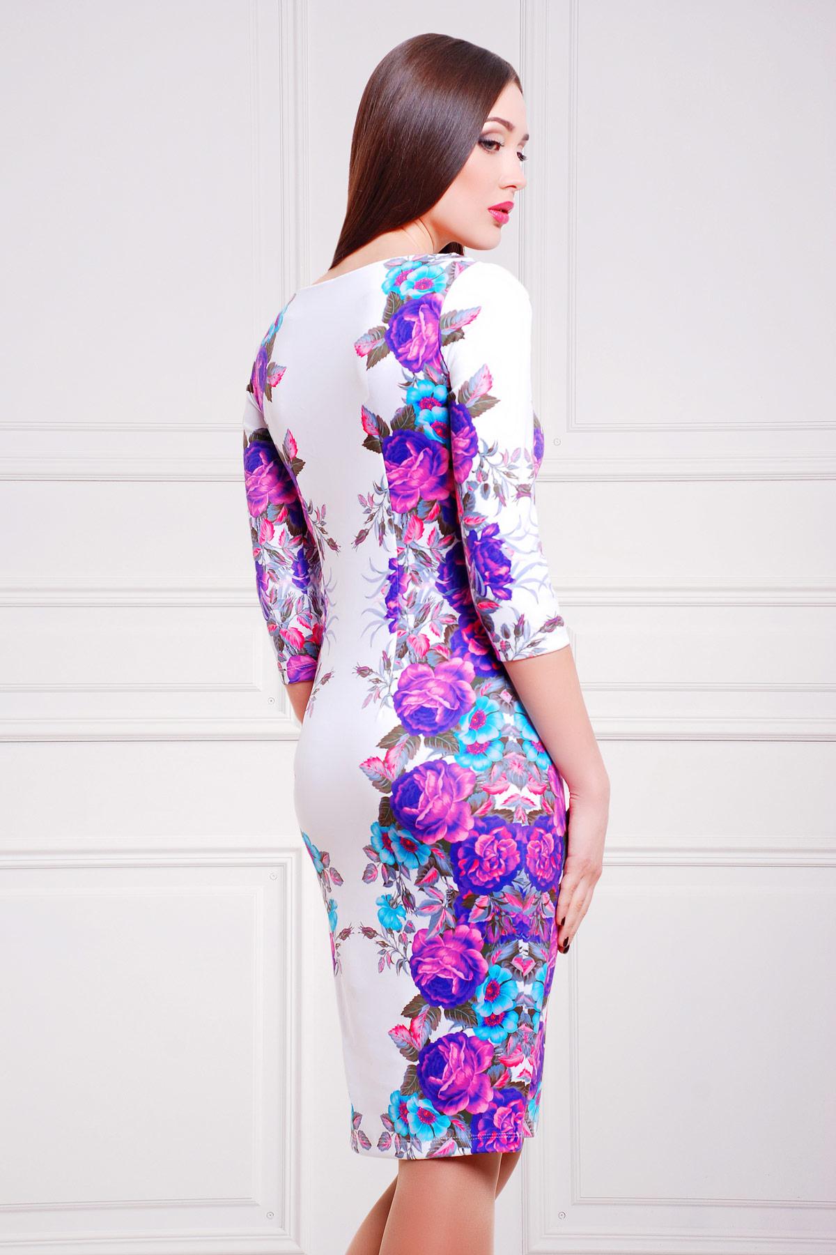 ce377b8ece16 Облегающее платье до колен с фиолетовыми цветами. Фиолетовые розы платье Лоя -1 д