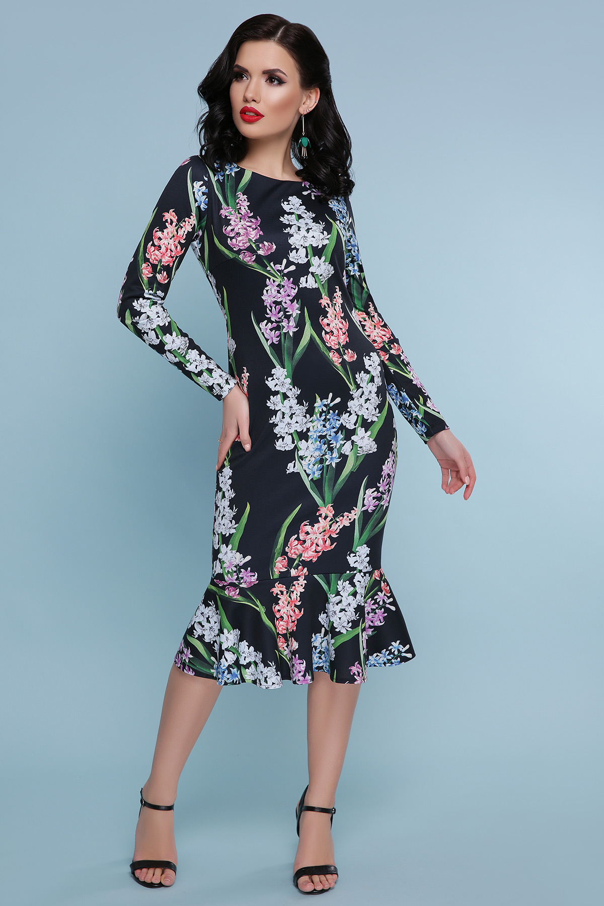 05e2a1245dc черное платье с цветами. Гиацинты платье Фаина д р. Цвет  черный купить ...