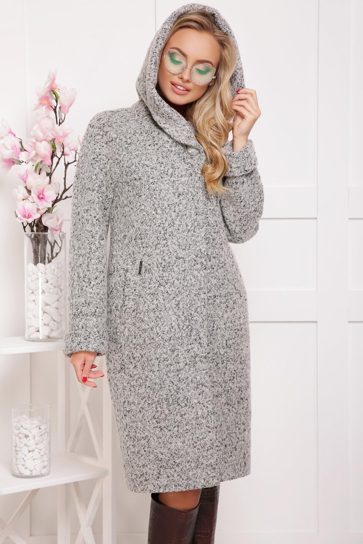 женское пальто с капюшоном. пальто П-304-100б. Цвет  1205 956b80d695f1f