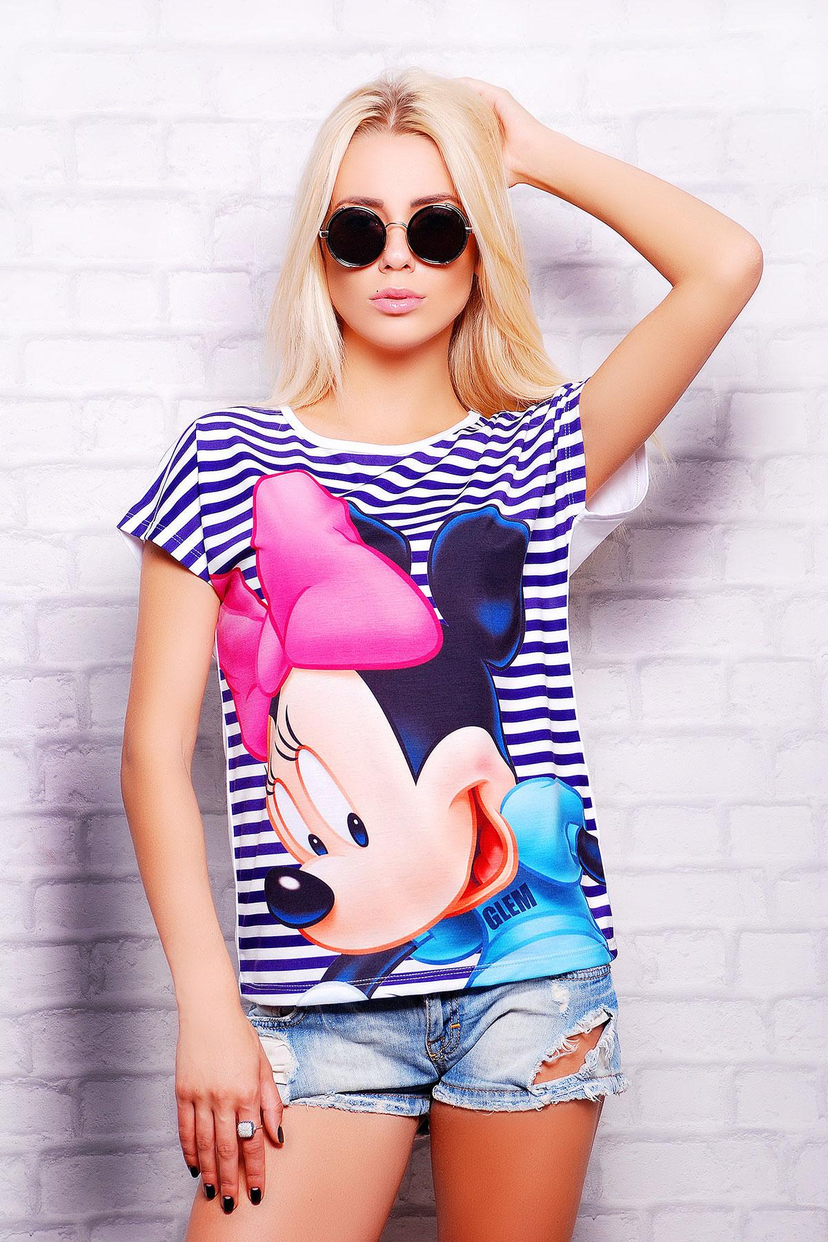 Полоска Minnie футболка Кимоно-Б. Цвет: принт