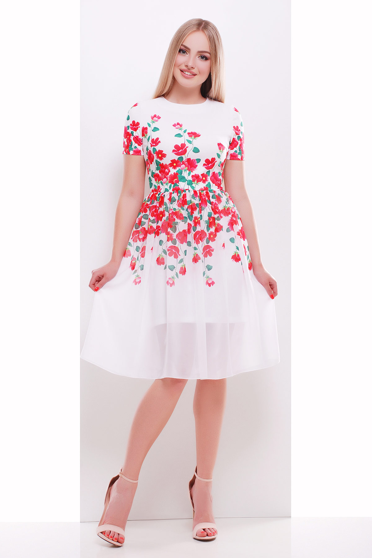 14cf6c36216 белое платье с красными цветами. Красные цветы платье Мияна-КД к р.