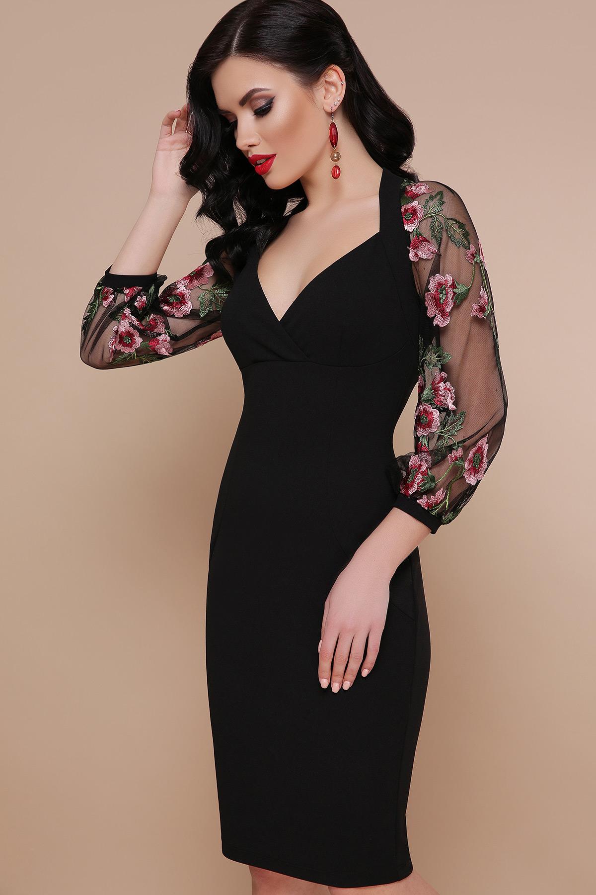 3a001bd39d4f91 черное платье с вышивкой. платье Флоренция В д/р. Цвет: черный