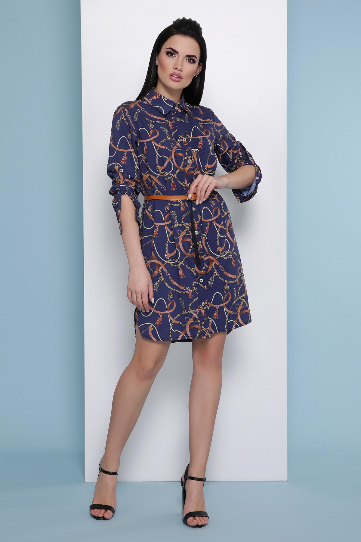 84ae8ec0a05 Синее платье рубашка Аврора П д р - купить в Украине