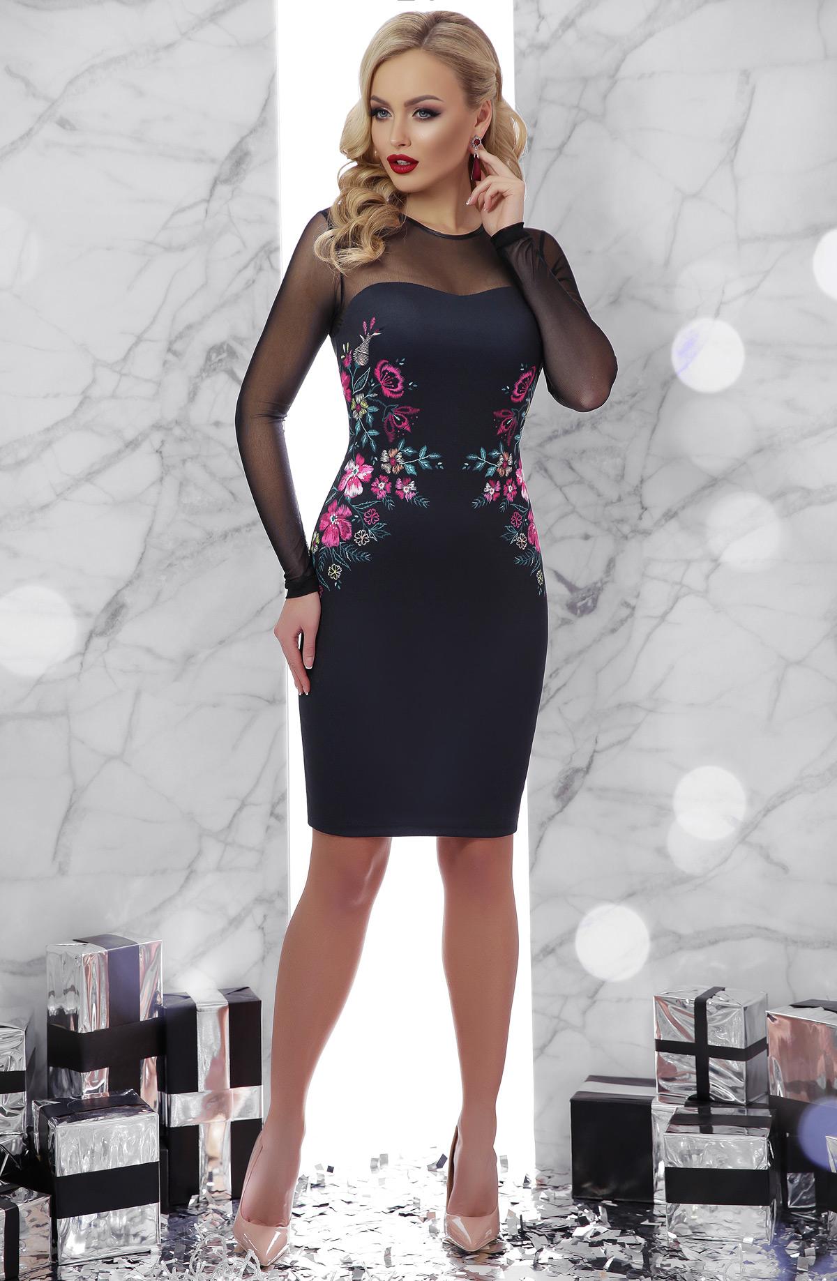 58027efb433 Черное платье с рукавами из сетки. Вышивка платье Донна2 д р. Цвет