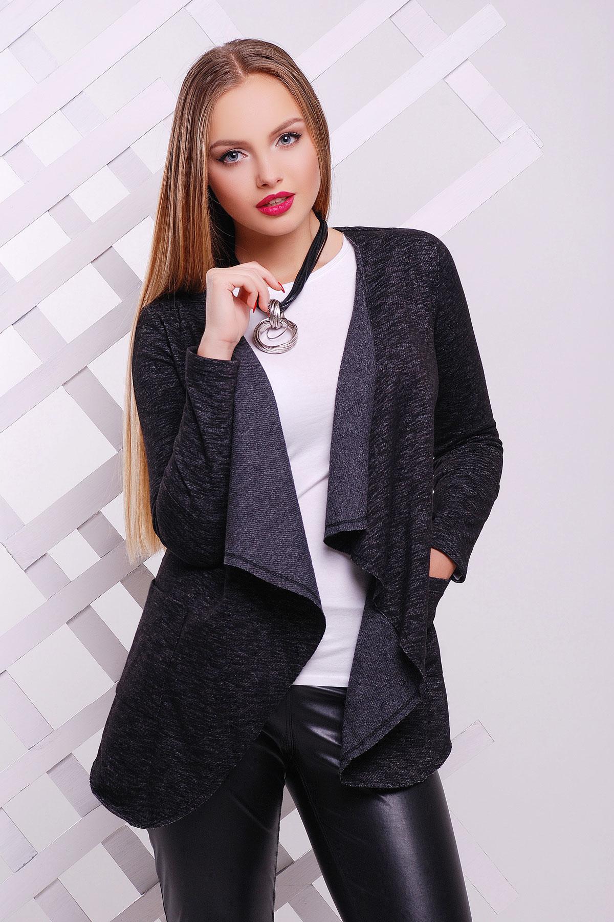 964262995e703d Удлиненная женская кофта без застежек черного цвета. кофта Веста2 д/р. Цвет: