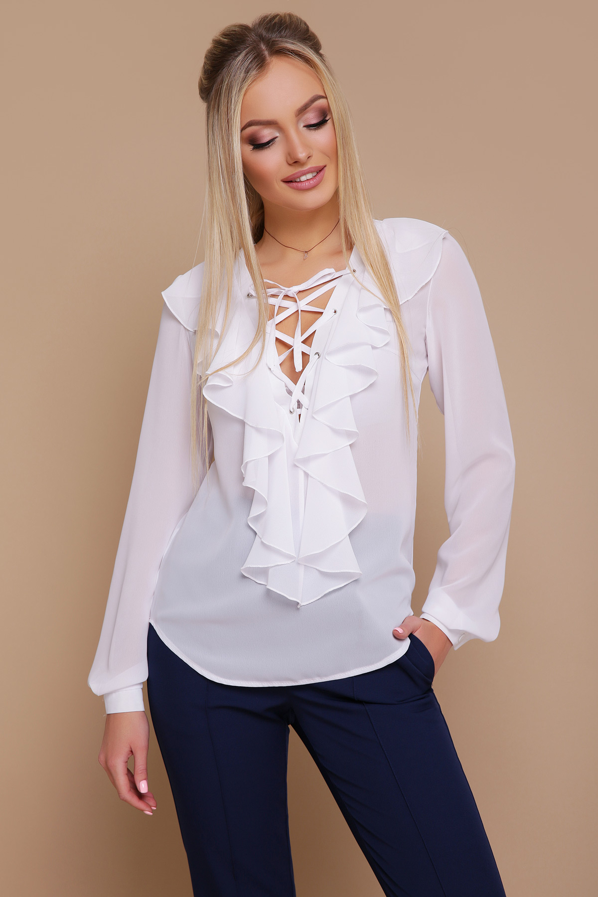 082bcce3ffc шифоновая блузка с воланами. блуза Сиена д р. Цвет  белый
