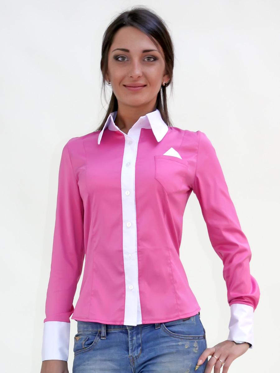 961cd64b12d5dec Малиновая женская блузка с белым воротником и манжетами. блуза Марта д/р.  Цвет