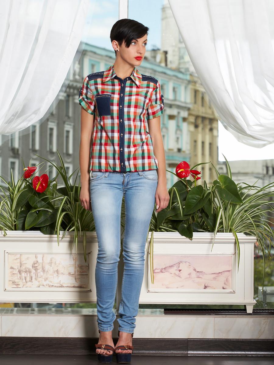 блуза Кантри к/р. Цвет: клетка бирюза