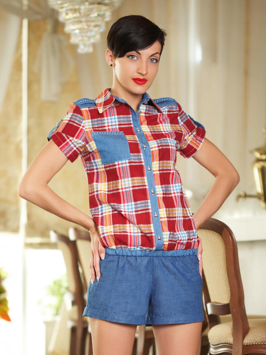 блуза Кантри к/р. Цвет: клетка красный-желт