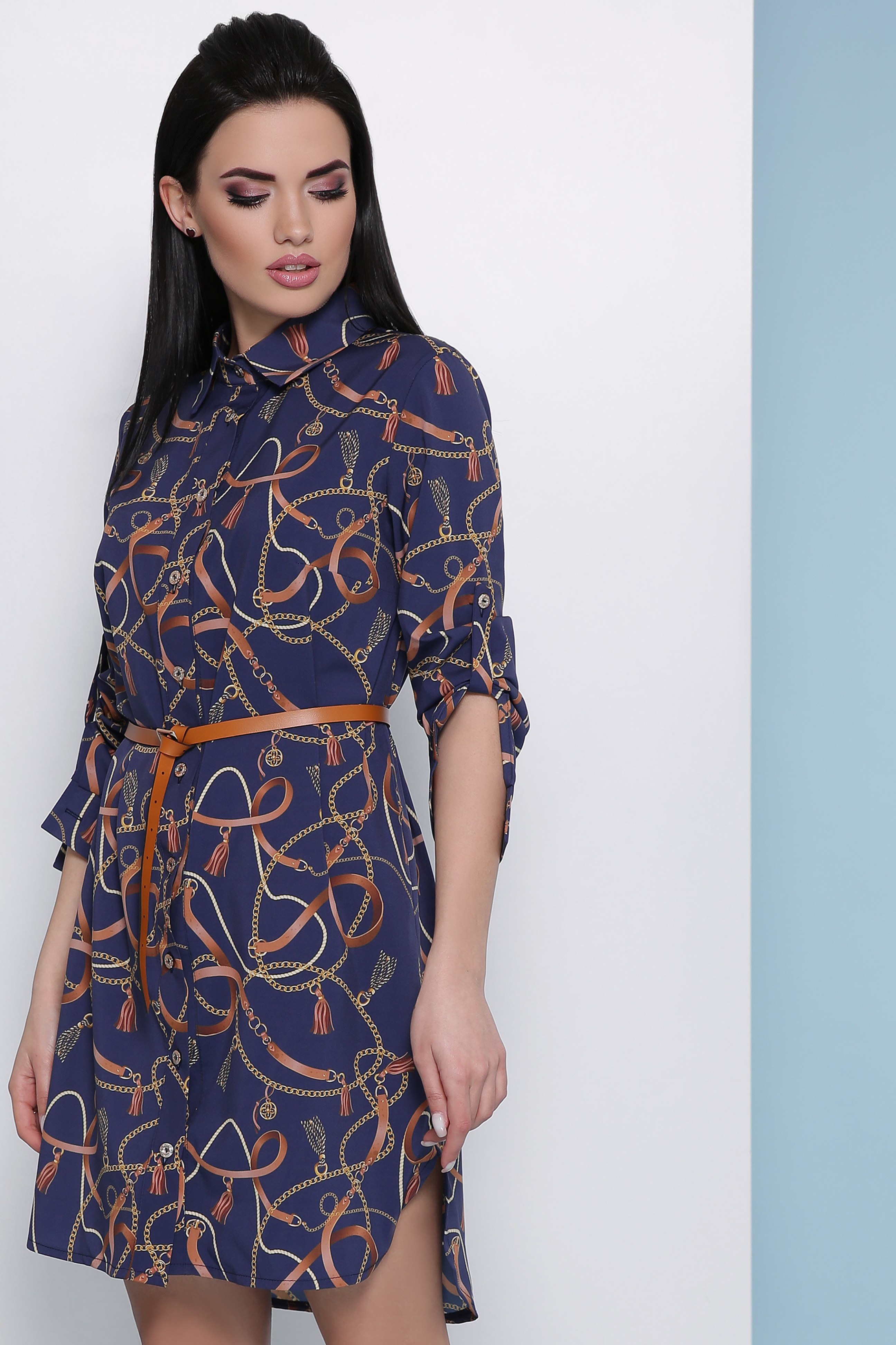 d8847017b42 синее платье рубашка. Ремешки-цепи платье-рубашка Аврора П д р.