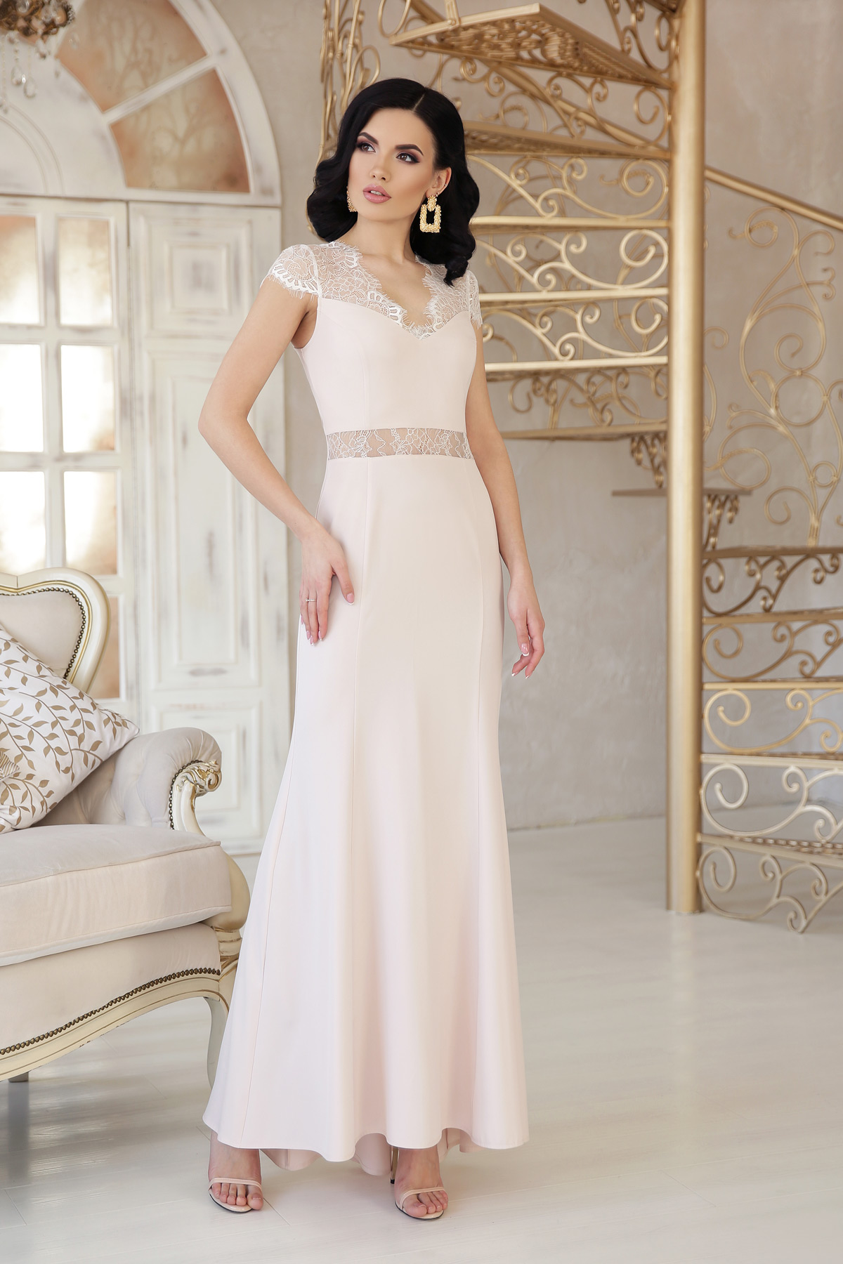 848b6a037653660 бежевое вечернее платье. платье Алана к/р. Цвет: св. бежевый