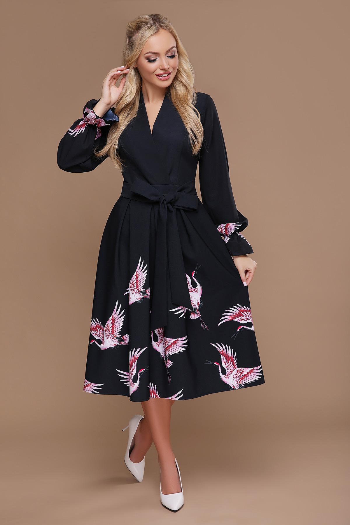8f39c1a9920d2cf черное платье миди с пышной юбкой. Аисты платье Ангелина д/р. Цвет:
