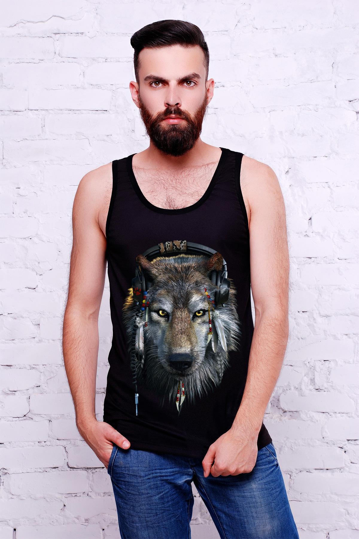 Волк Майка-2В Men. Цвет: принт