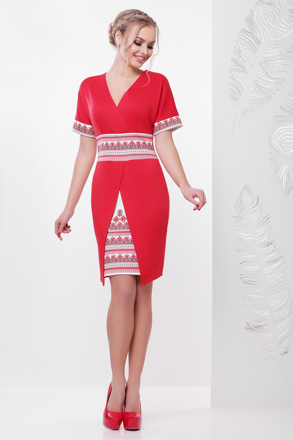 2b455caca54 красное платье с орнаментом. Этно-украинский платье Аурика-П д р.
