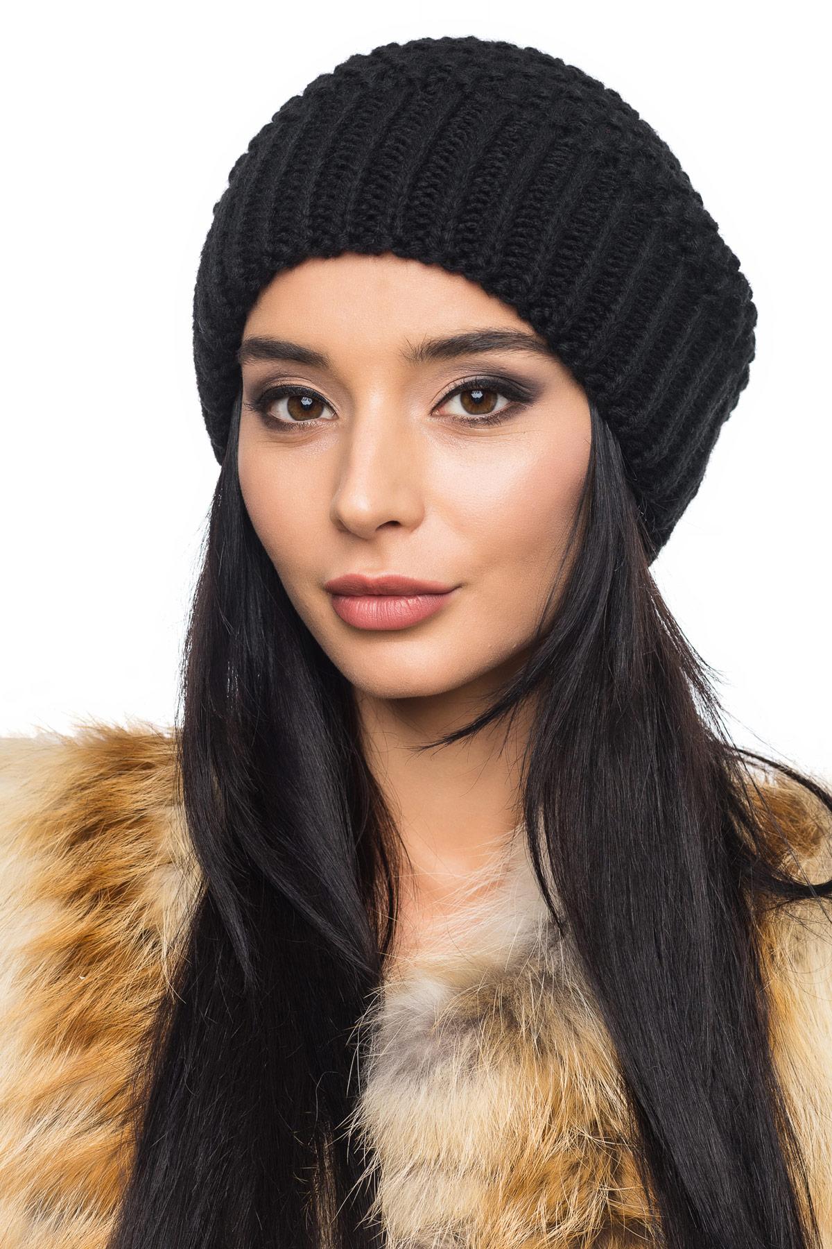 купить вязаную шапку черного цвета с широкой резинкой