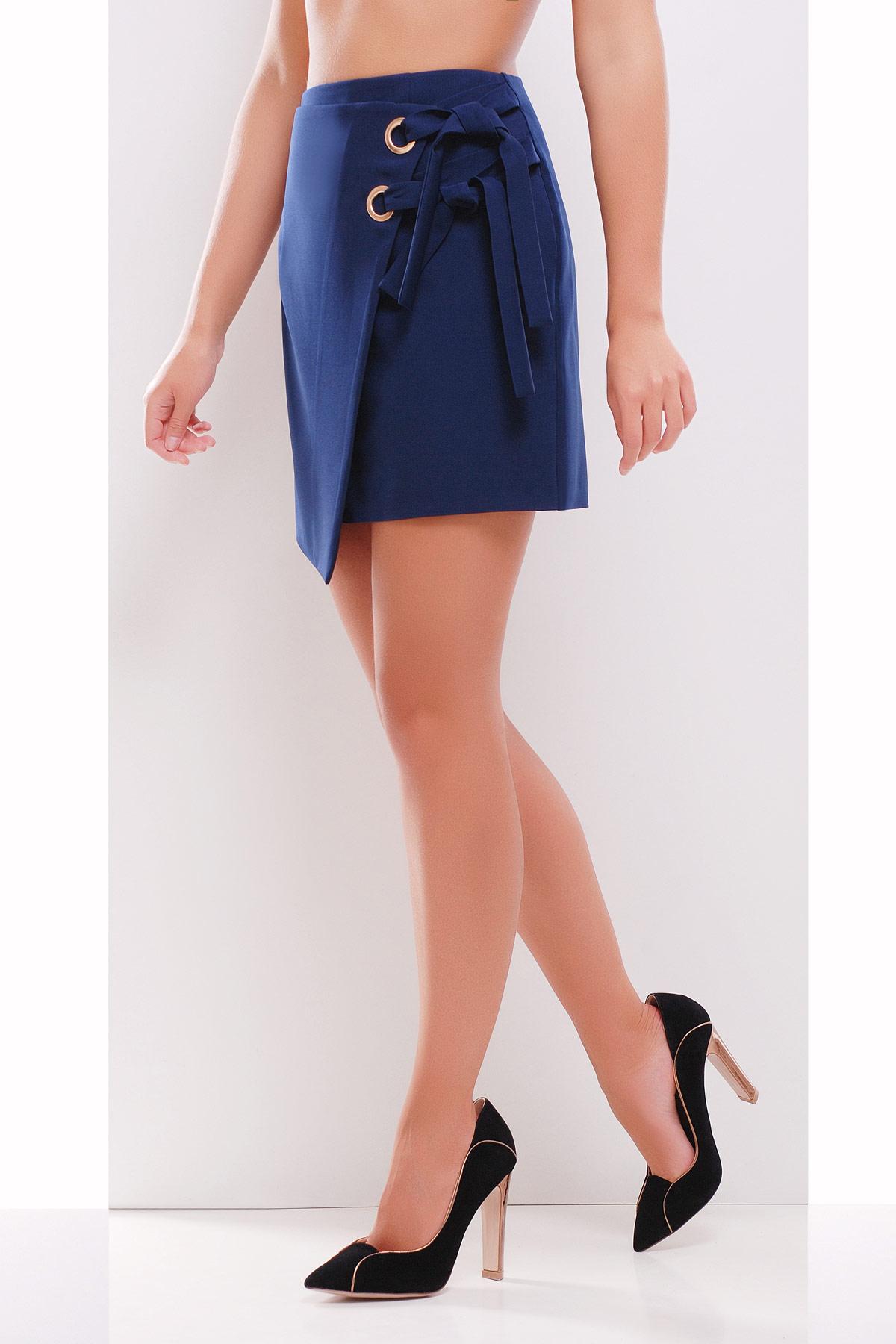 Темно синяя юбка с запахом