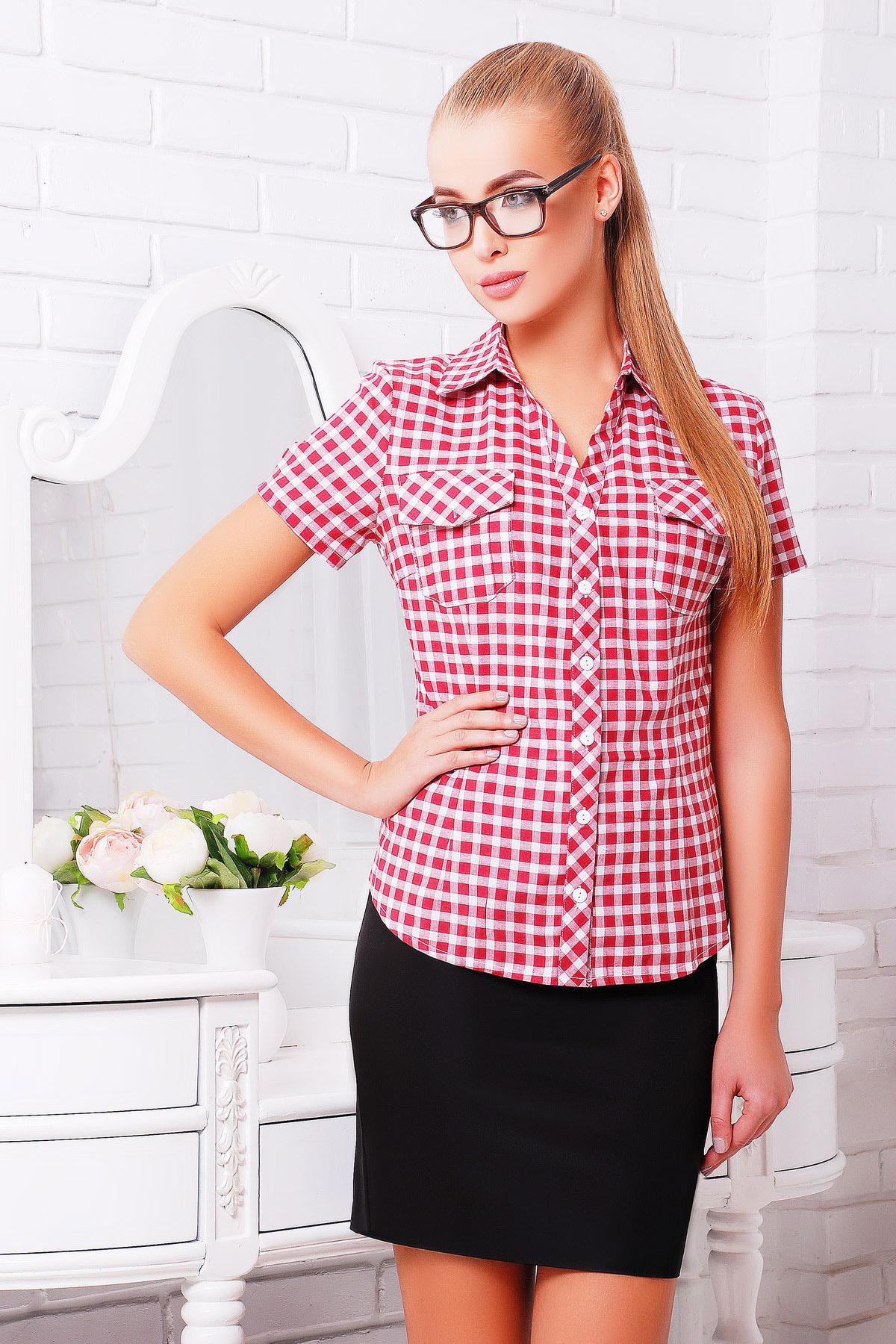 блуза Ковбой к/р. Цвет: бордовый-клетка