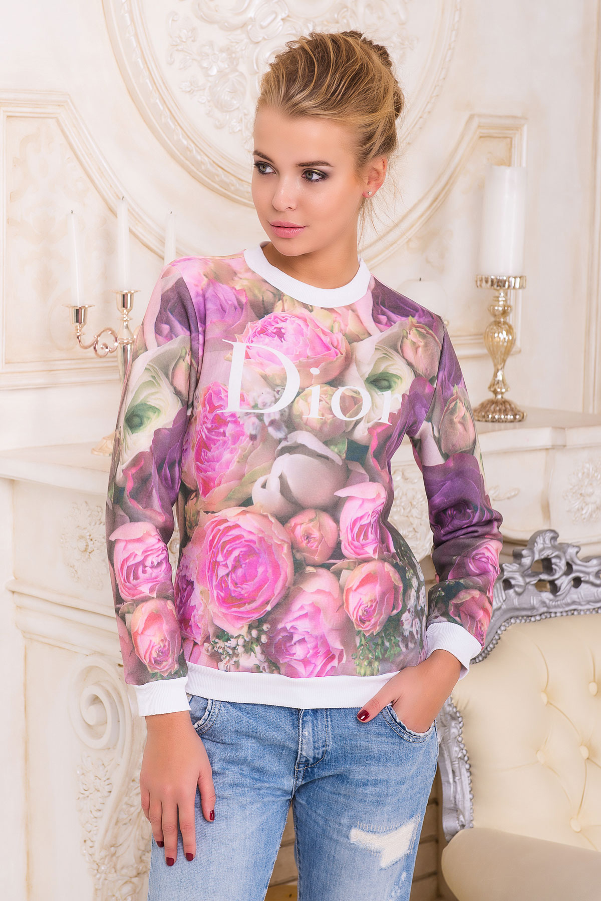 1dbab13132574 Розы Dior кофта Свитшот 1 д/р. Цвет: принт-белая отделка - купить ...