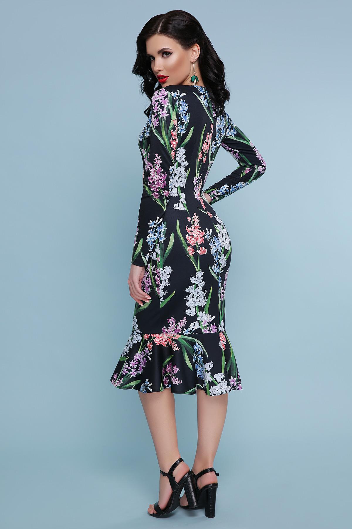 625680343eb Черное платье с цветами Фаина д р - купить в Украине