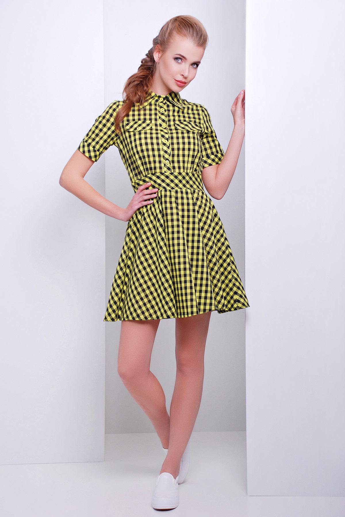 Платье короткое юбка клеш