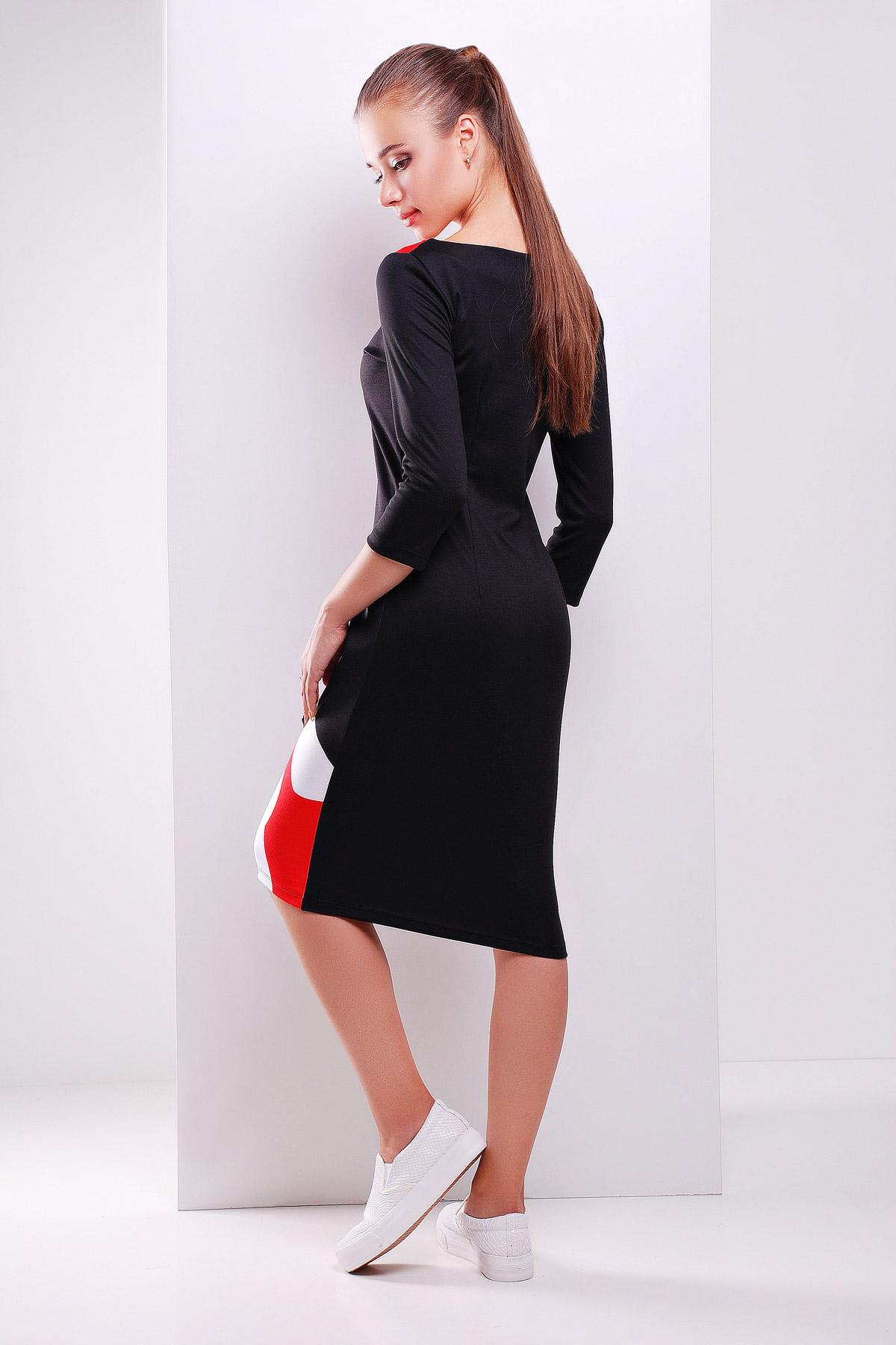 4e629ae9d6e Молодежное черное платье миди с принтом. Girl платье Лоя-2Ф д р.