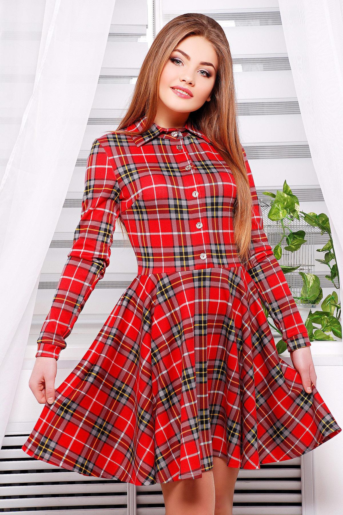 b0b52d2ea6b Платье Рамона2 д р. Цвет  красный-серая клетка - купить оптом и в ...