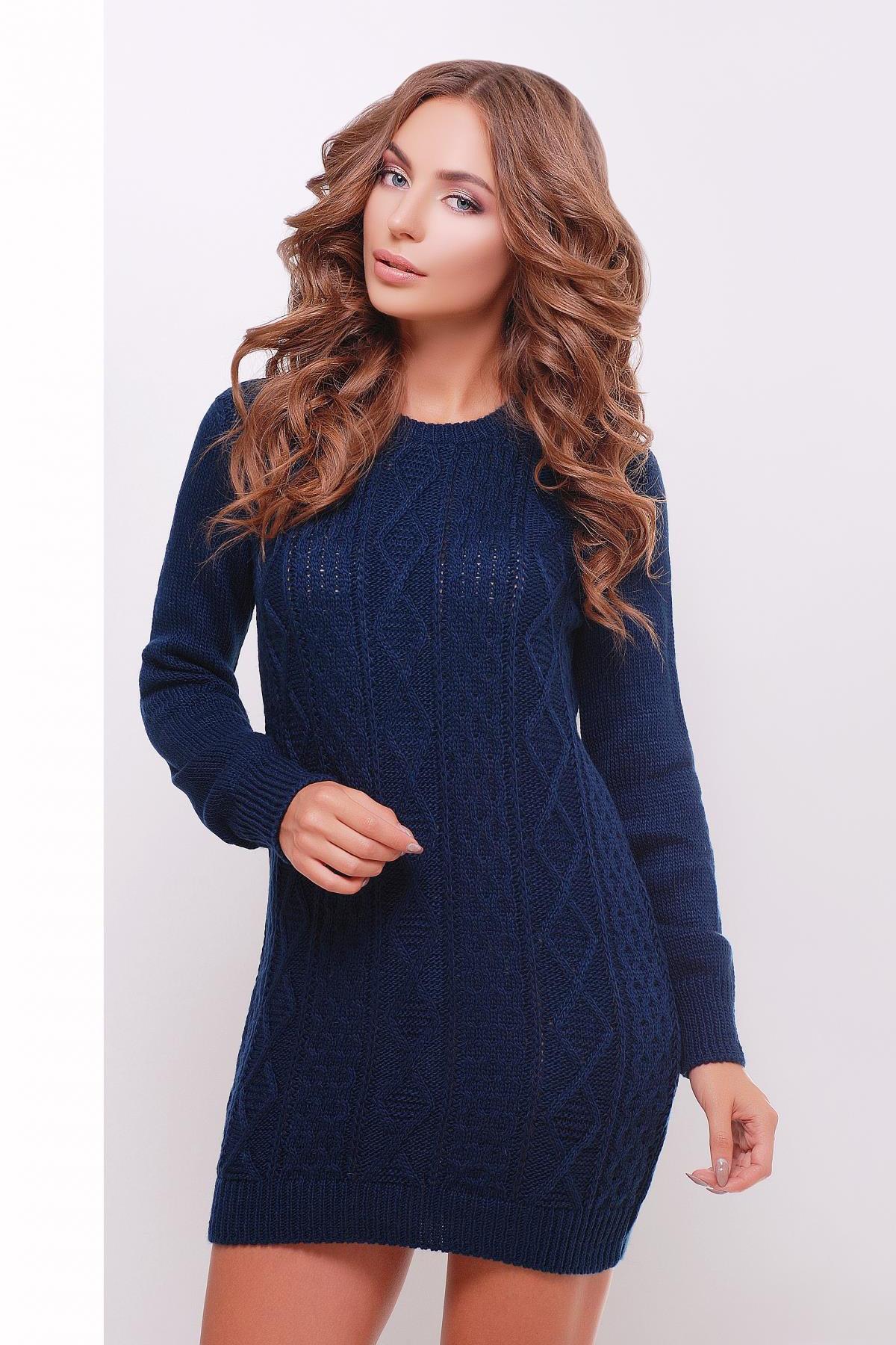 6eac1b6b5db1 теплое вязаное платье туника. Платье-туника 143. Цвет  темно-синий