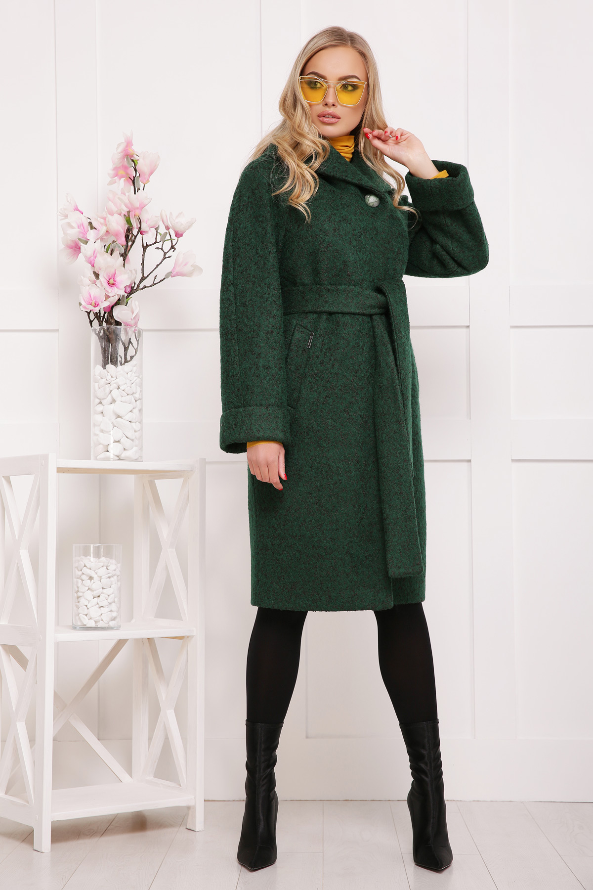 темно-зеленое шерстяное пальто. пальто П-304-100б. Цвет  1225 1fa776ebb357e