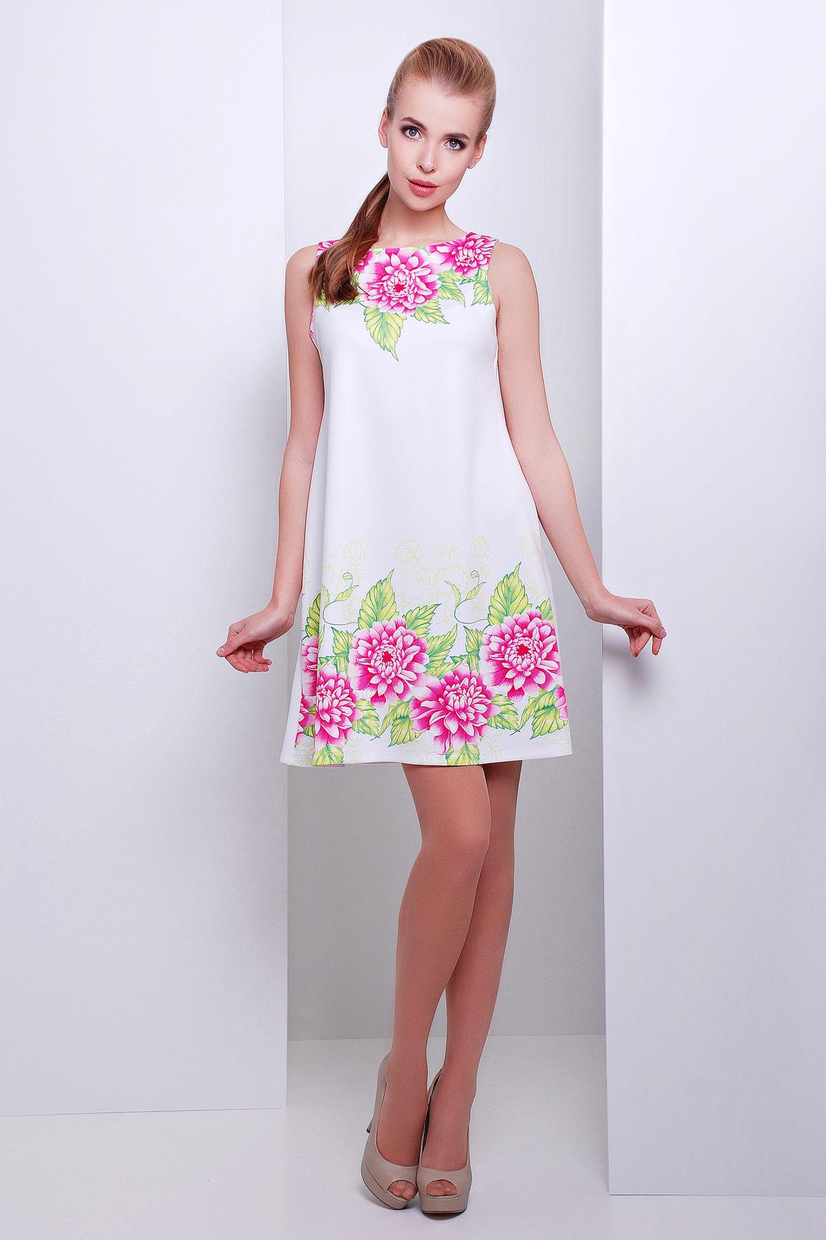 674e4af7e5c Летнее белое платье-трапеция без рукавов с цветочным принтом. Пионы платье  Лада б
