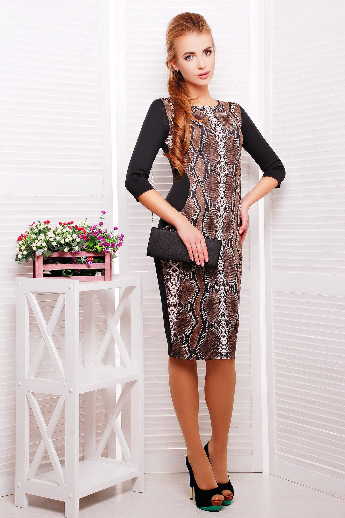 Питон коричневый платье Саламандра д/р. Цвет: принт-черная отделка