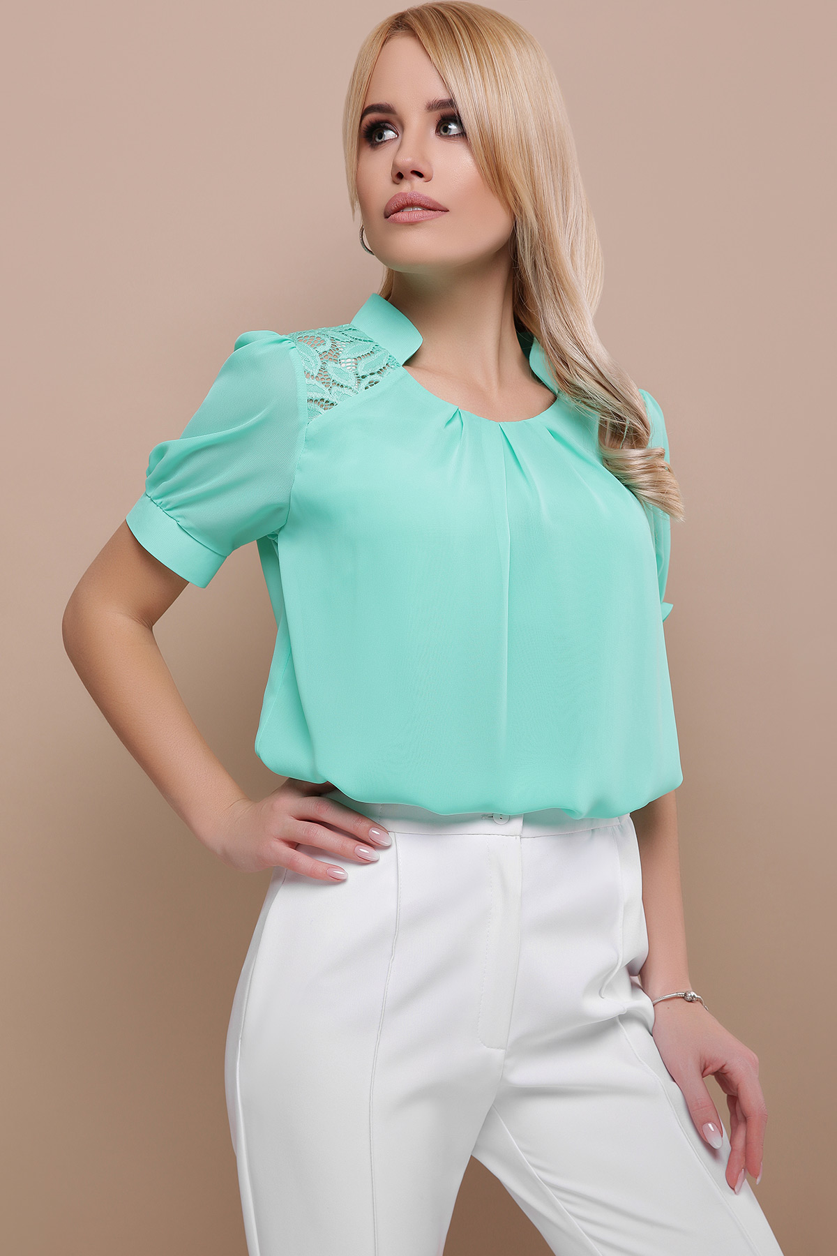 9f146725795 Цвет  мята цена  мятная шифоновая блузка. блуза Римма к р. Цвет  мята в  интернет-