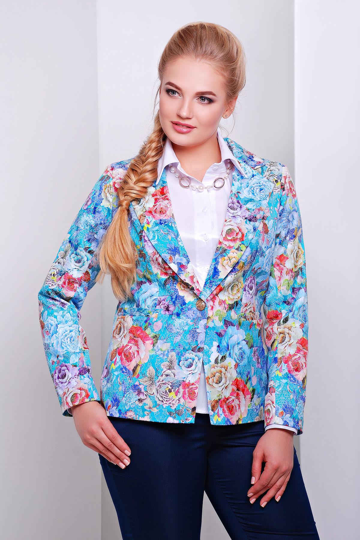 пиджак Жардин-Б. Цвет: бирюза-цветы