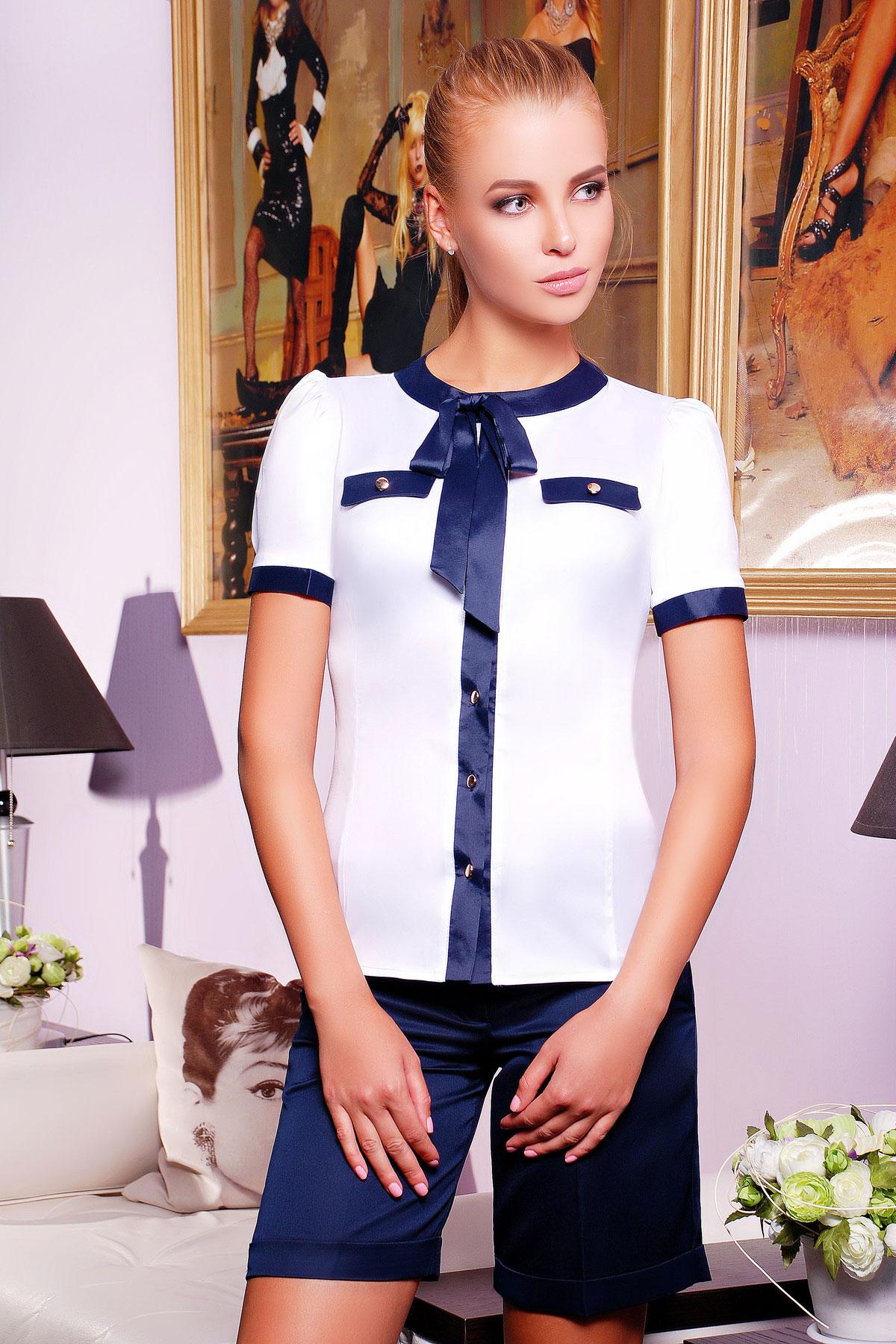 d108de9253f белая женская блуза с темно-синей отделкой. блуза Марго к р. Цвет