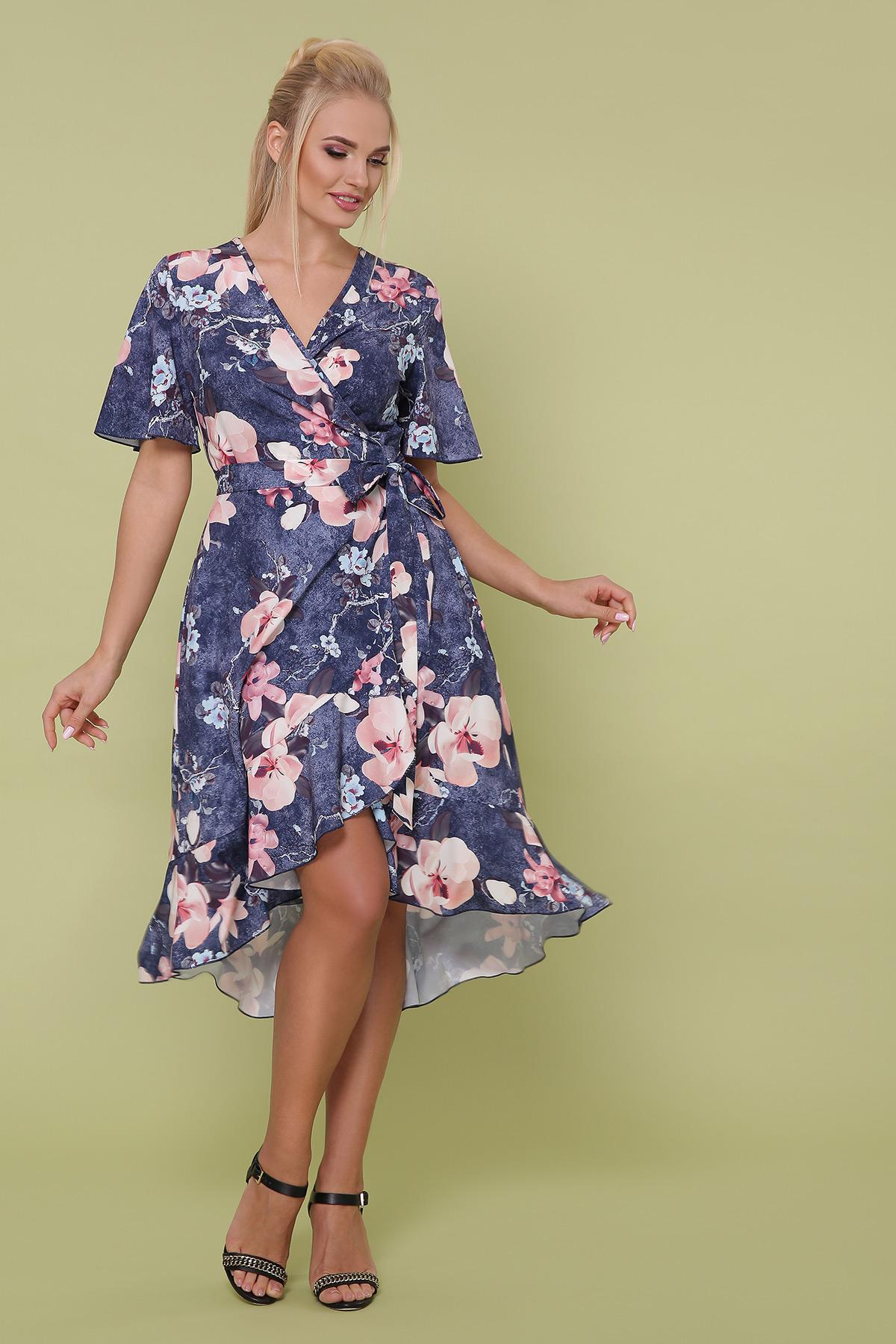 платье Алесия-Б к/р. Цвет: джинс-крупный цветок