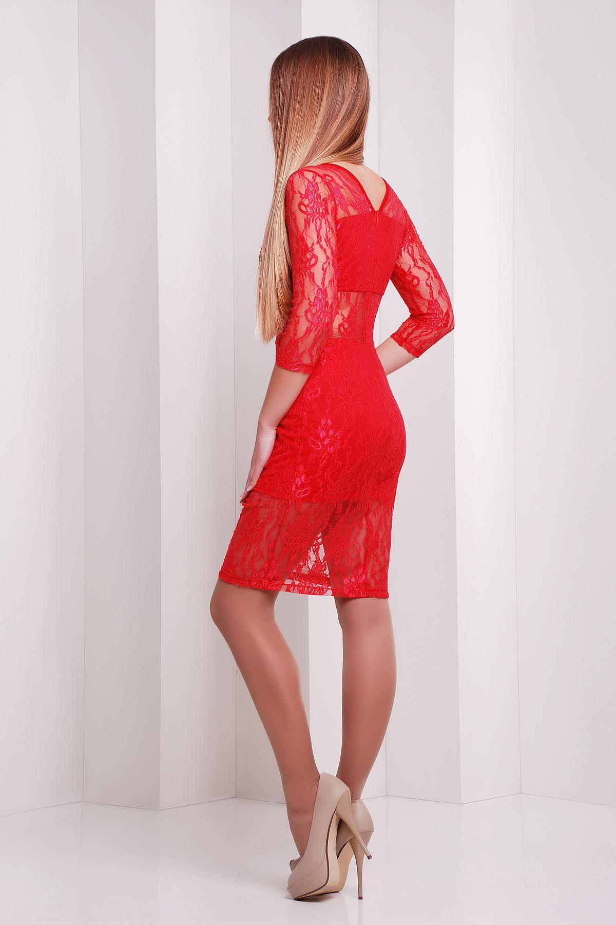 f2eff392e40 Привлекательное платье красного цвета с гипюром. платье Пасадена д р. Цвет   красный