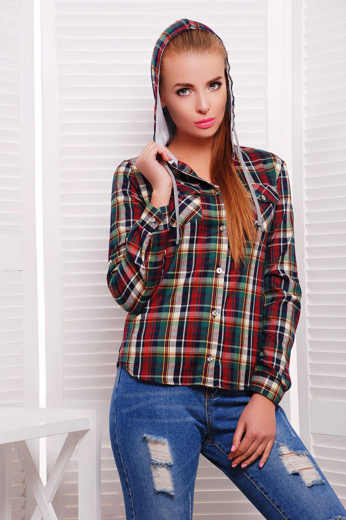 блуза Коломбо д/р. Цвет: зеленый-серая отделка