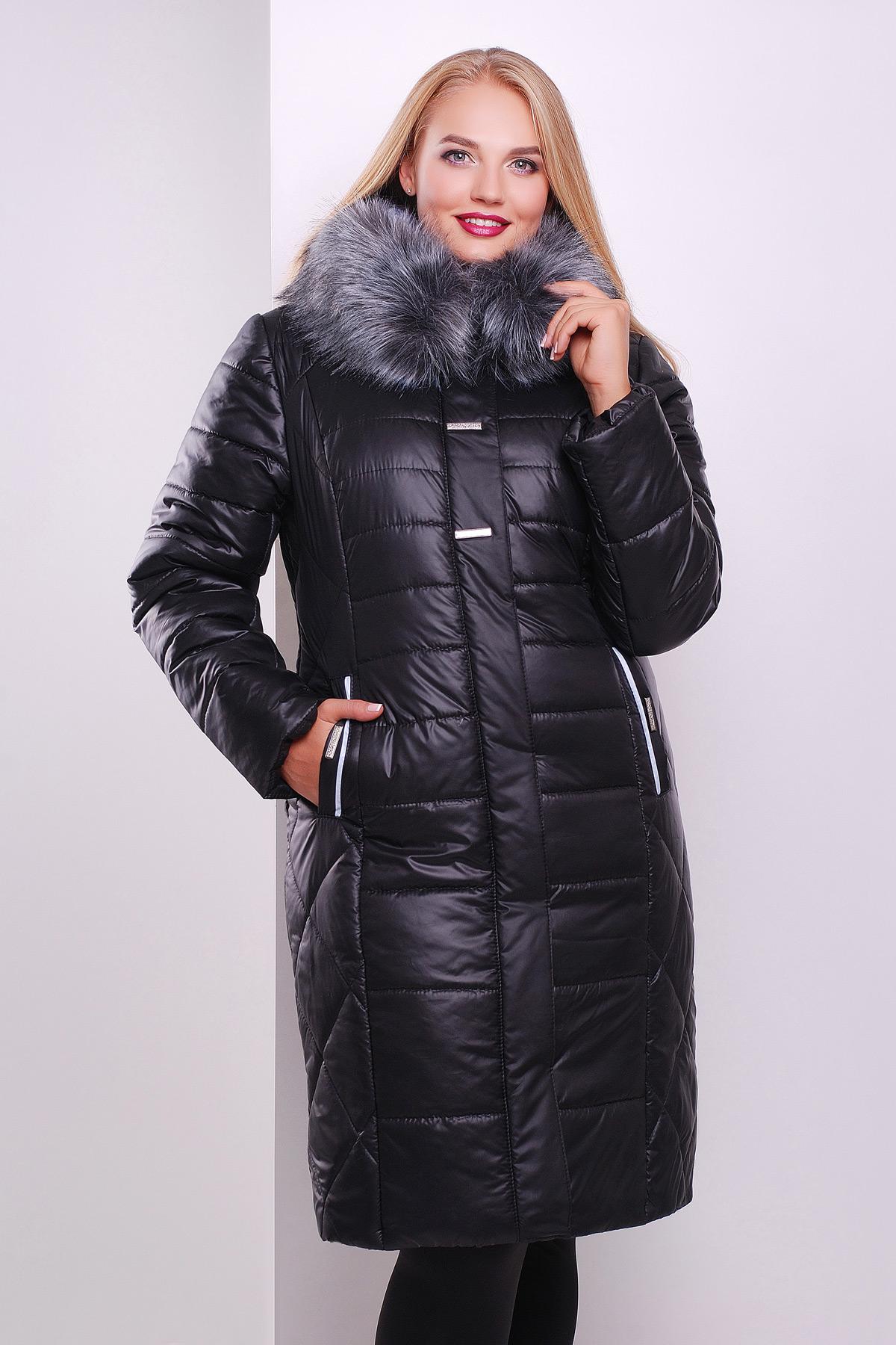 3b359b63b09 Длинная женская куртка черного цвета с меховым капюшоном. куртка Glem-3.  Цвет