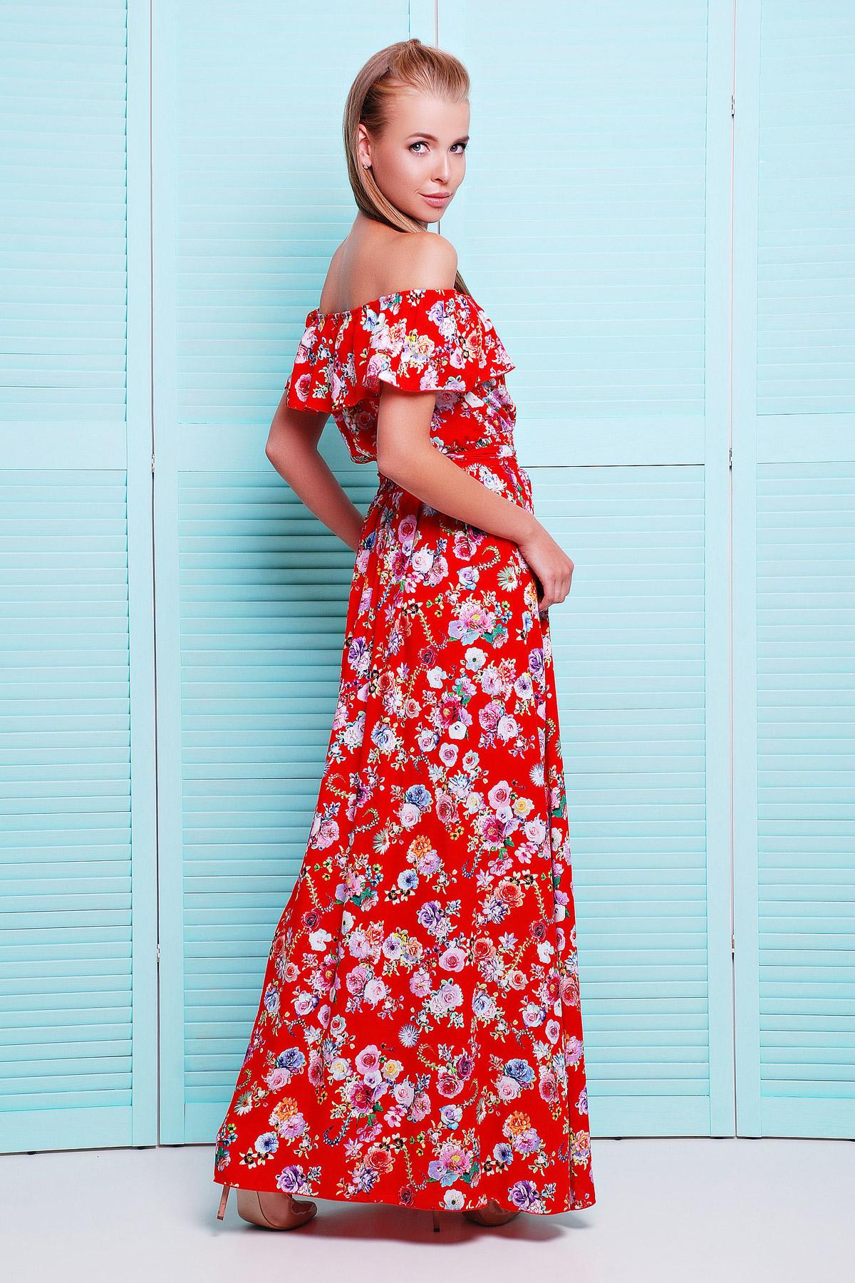 278e22d5710 длинный синий сарафан из штапеля с цветочным принтом. сарафан Ждана. Цвет   красный-