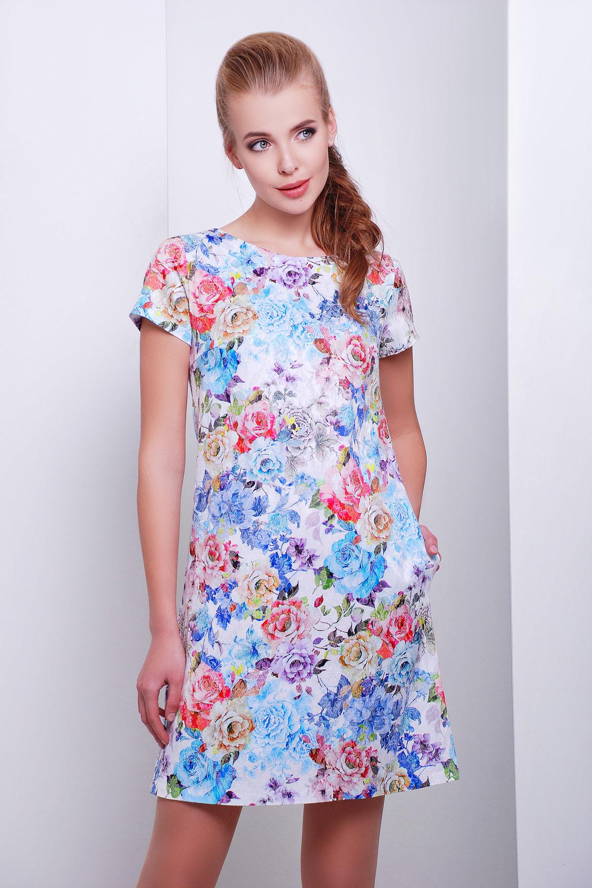 757787d30a5 Платье Миранда к р. Цвет  белый-голуб.цветы - купить оптом и в ...