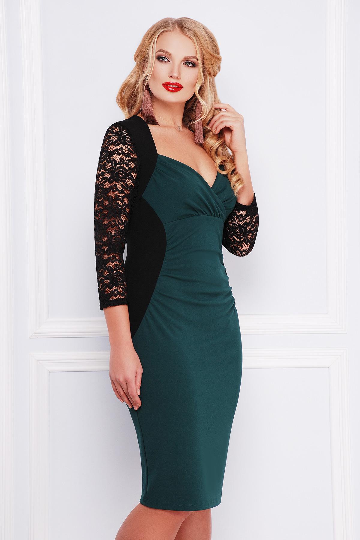 622c02738fd2904 Изумрудное платье больших размеров Сусанна-Б д/р - купить в Украине