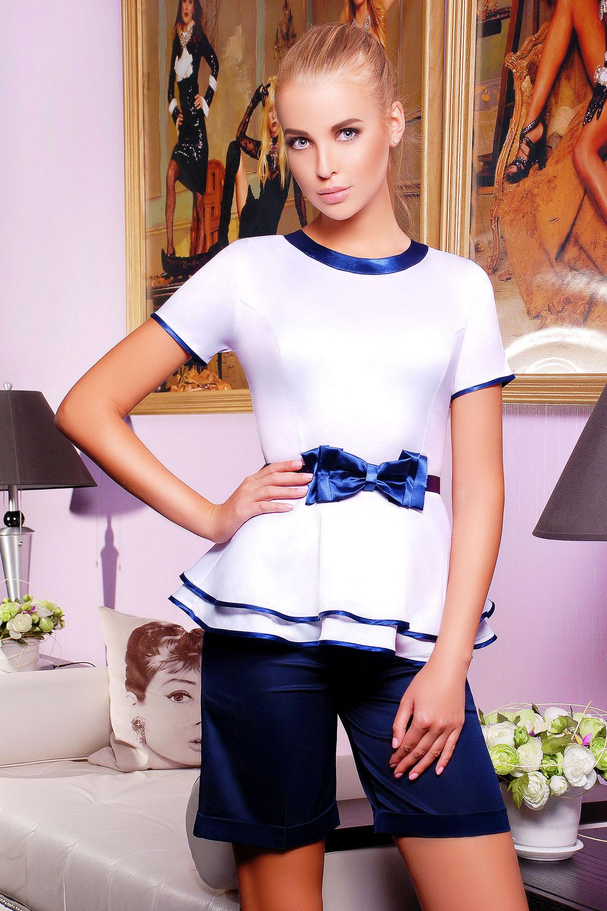 f7febc214d4 Белая женская блузка с баской и синим бантом. блуза Бонни к р. Цвет