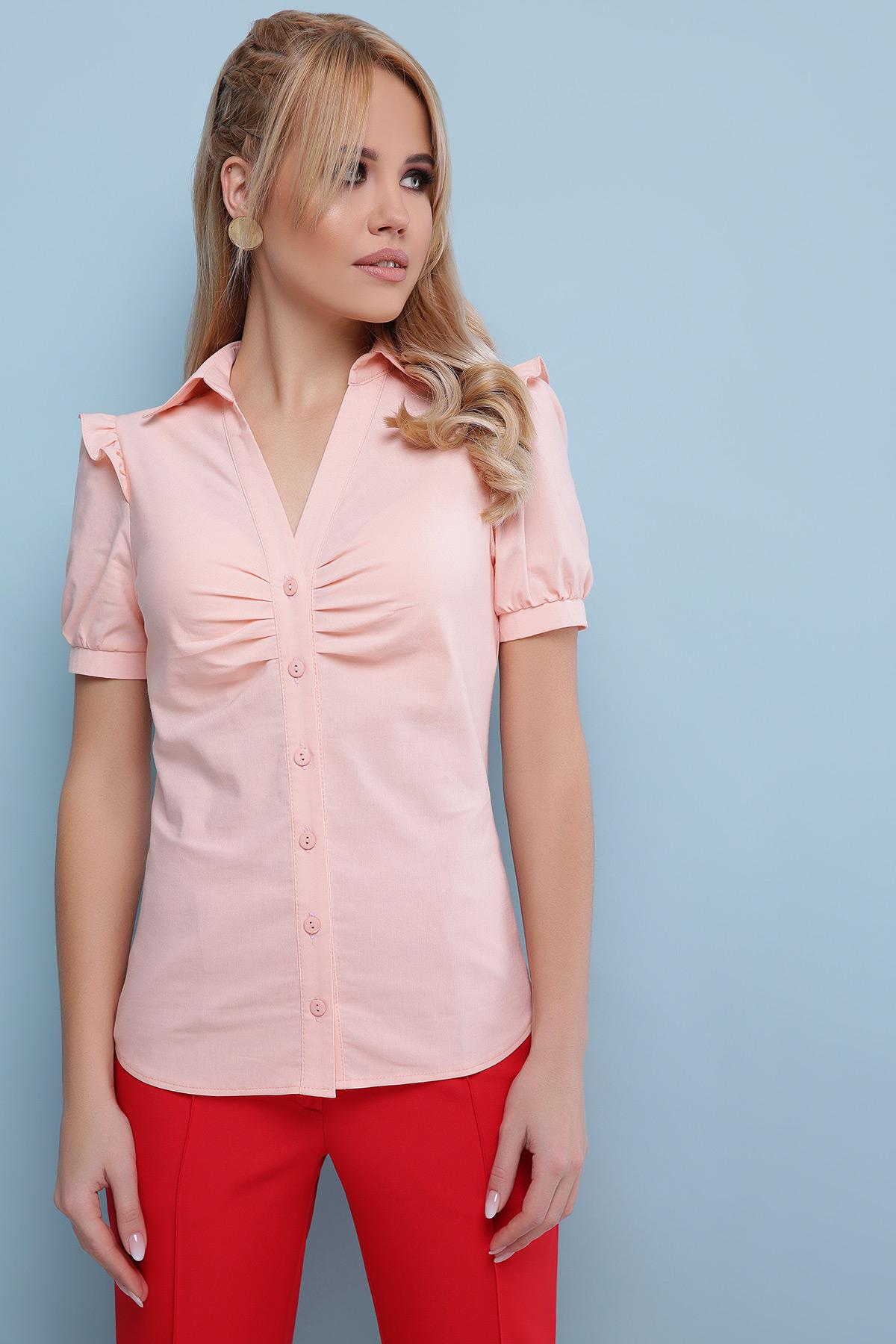 c477bfd5f4e голубая блузка с рюшами. блуза Маргарита к р. Цвет  персик купить ...