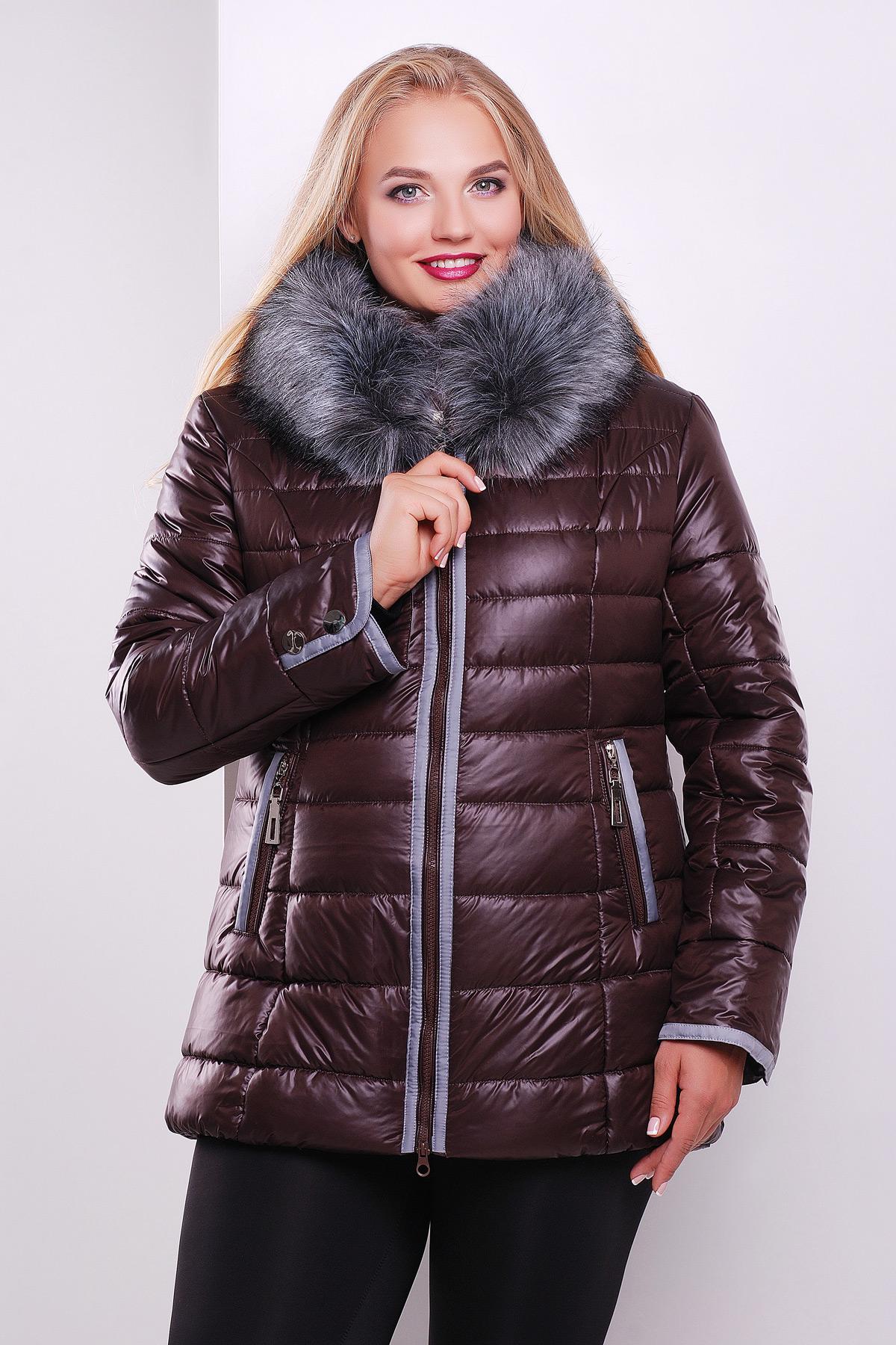 162eec4e20c Черная куртка с капюшоном на меху. куртка Glem-1. Цвет  коричневый