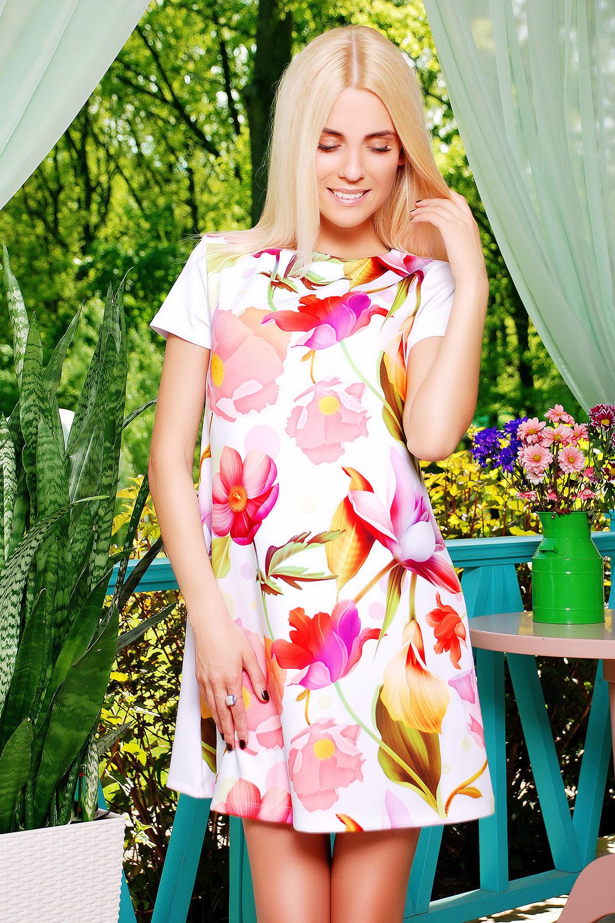 a006bdc80d378b3 Летнее короткое женское платье с коротким рукавом, принтованное лилиями. Белые  лилии платье Тая-