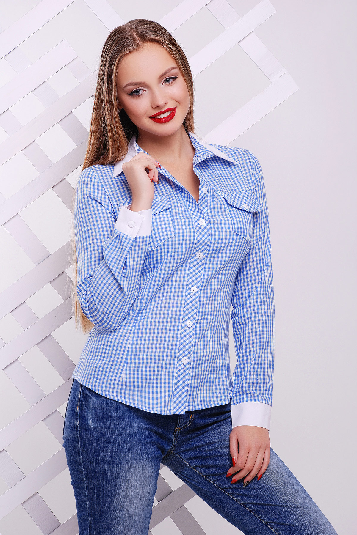 блуза Техас д/р. Цвет: голубой-м.клетка